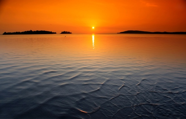 Picture the sky, the sun, sunset, lake, island, ruffle, horizon