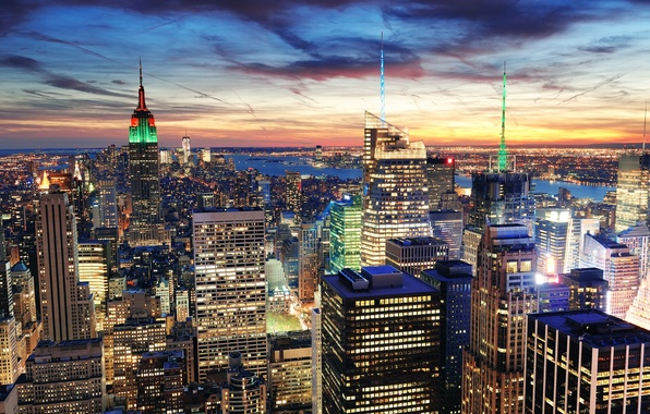 Picture sunset, the city, lights, building, home, New York, skyscrapers, the evening, panorama, USA, USA, NYC, …