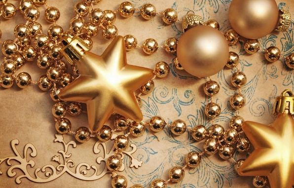Picture stars, balls, decoration, holiday, toys, New Year, Christmas, beads, Christmas, gold, New Year, Christmas, Christmas