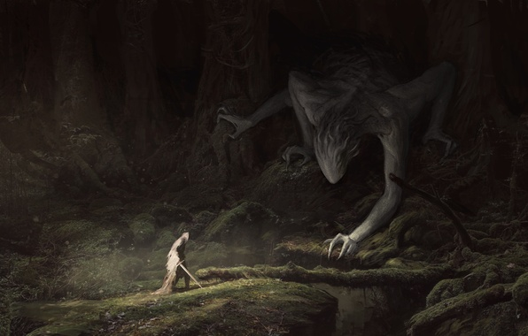 Photo wallpaper cloak, art, trees, Fantasy, moss, people, sword, branches, forest, being
