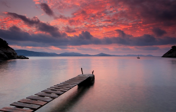 Picture the sky, water, sunset, mountains, orange, bright, clouds, lake, surface, silence, The evening, sail, wooden, …