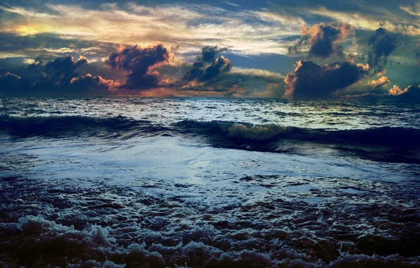 Picture sea, clouds, sunset, wave