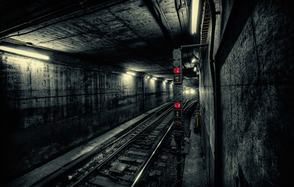 Picture light, the city, metro, train, the tunnel, subway