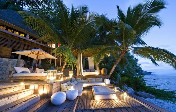 Picture sea, trees, house, palm trees, sofa, Paradise, lamps