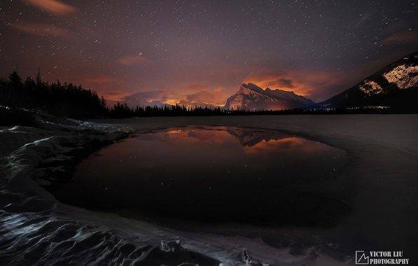 Picture winter, forest, snow, mountains, night, lake, glow