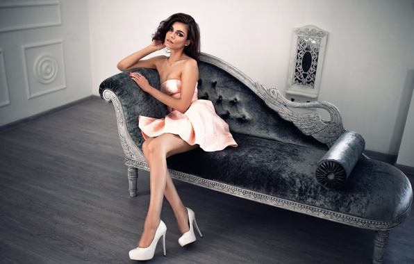 Picture sofa, dress, legs, the beauty, Dmitry Sn, girl Kate
