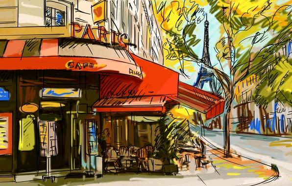 Picture tree, figure, Eiffel tower, Paris, cafe, France, street