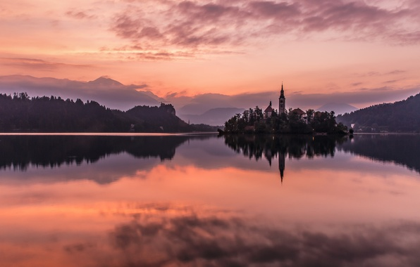 Picture mountains, nature, island, the evening, Church, glow, Slovenia, lake bled