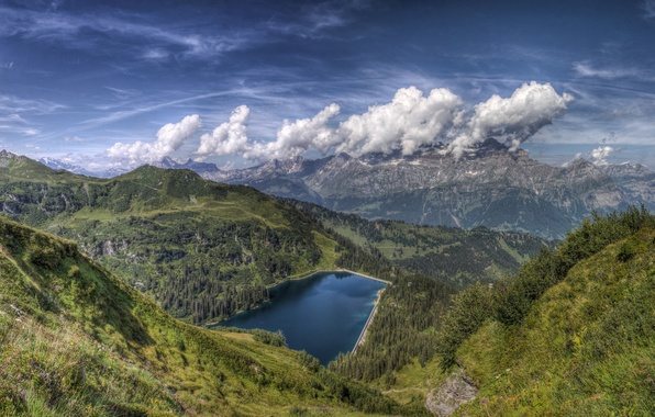 Picture the sky, clouds, mountains, nature, lake, background, widescreen, Wallpaper, view, beauty, wallpaper, sky, nature, widescreen, …