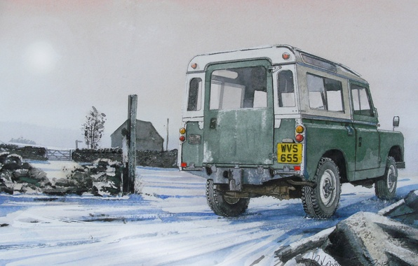 Picture road, machine, figure, SUV, Land Rover, painting