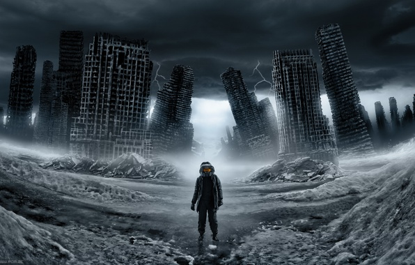 Picture snow, zipper, Loneliness, Ruins, ruins, romantically apocalyptic, engineer, Romance of the Apocalypse
