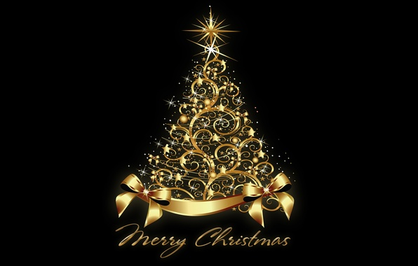 Picture tree, New Year, Christmas, golden, tree, New Year, Merry Christmas, xmas