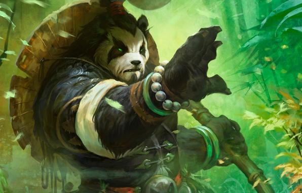 Picture forest, art, Panda, staff, World of Warcraft, Mists of Pandaria