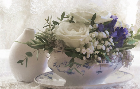 Picture flowers, roses, bouquet, texture, art, vase, bells, gypsophila