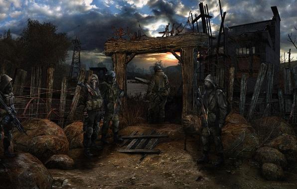 Picture house, the evening, village, soldiers, stalker, Stalker, Pripyat, area
