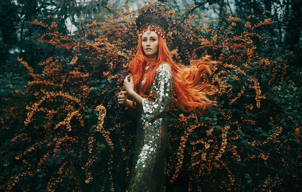 Picture girl, decoration, flowering, redhead, Bella Kotak, The Tempest