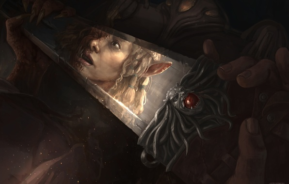 Picture look, face, reflection, fright, elf, fantasy, art, fantasy