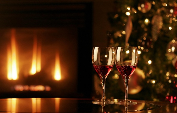 Picture comfort, fire, holiday, tree, glasses, fireplace