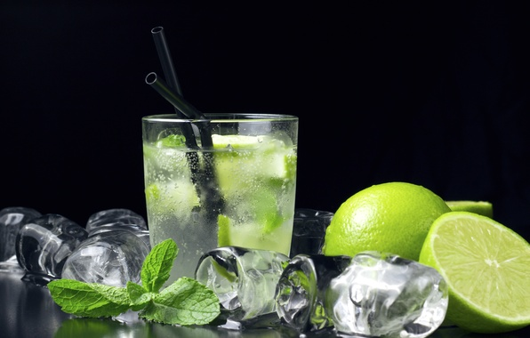 Picture ice, cocktail, lime, ice, mint, cocktail, lime, Mojito, mint, Mojito