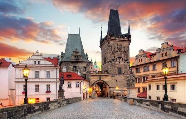 Picture bridge, tower, home, Prague, Czech Republic, lights, arch, architecture, statues, Charles Bridge