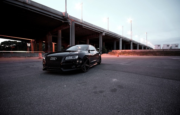 Picture Audi, The evening, Black, Bridge, Lights, RS5, Tuning