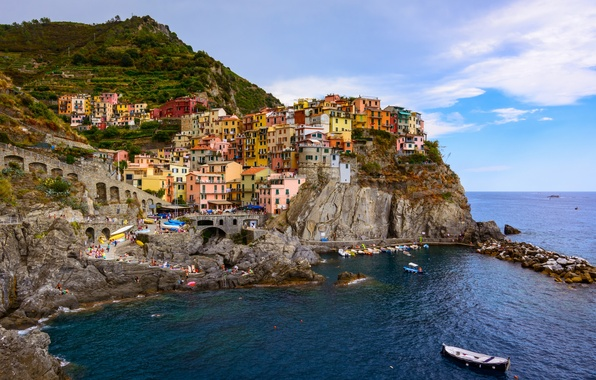 Picture sea, landscape, rocks, coast, building, boats, Italy, panorama, Italy, The Ligurian sea, Manarola, Manarola, Cinque …
