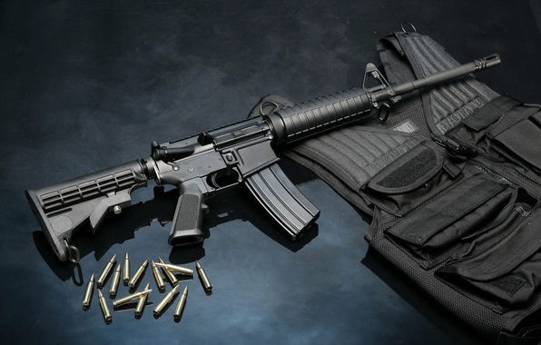 Picture weapons, bullets, cartridges, rifle, armor, the vest, rifle, ar-15