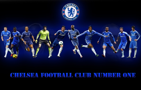 Picture team, emblem, players, Chelsea, number one
