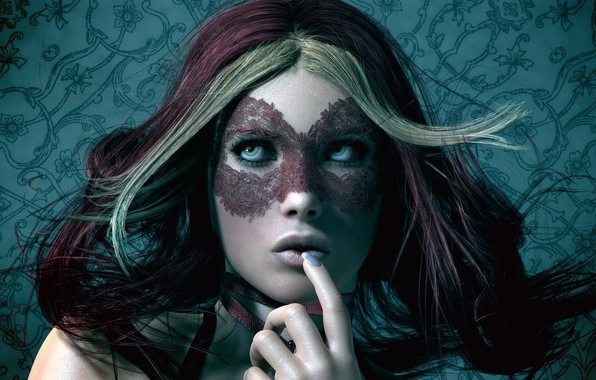 Picture look, background, hair, Girl, mask