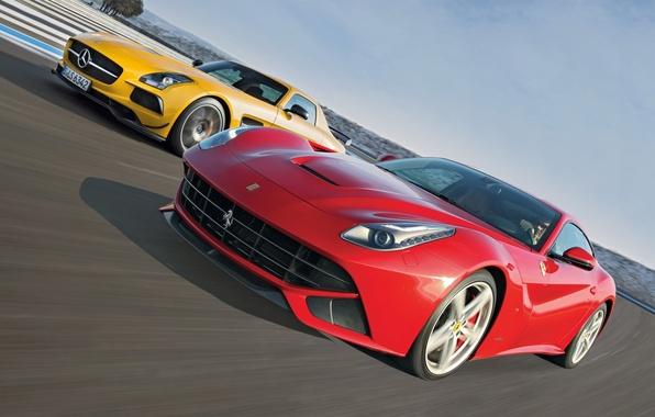 Picture Mercedes-Benz, Ferrari, Mercedes, Ferrari, AMG, SLS, the front, supercars, berlinetta, F12