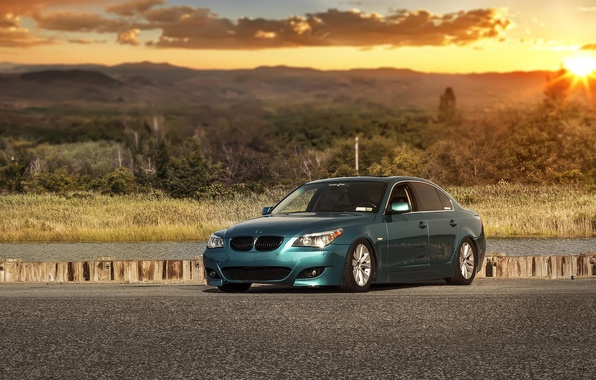 Picture green, bmw, tuning, e60, stance, 528i
