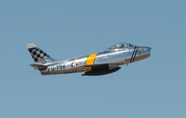 Photo wallpaper the plane, F-86 Sabre, the sky, flight, pilot
