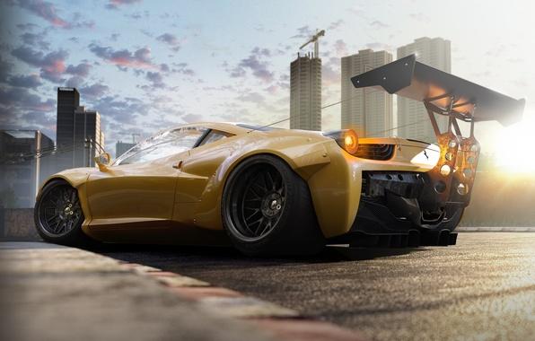 Picture Ferrari, 458, Yellow, Tuning, Italia, Supercar, Wheels, Track, Spoiler, Rear, DRAG