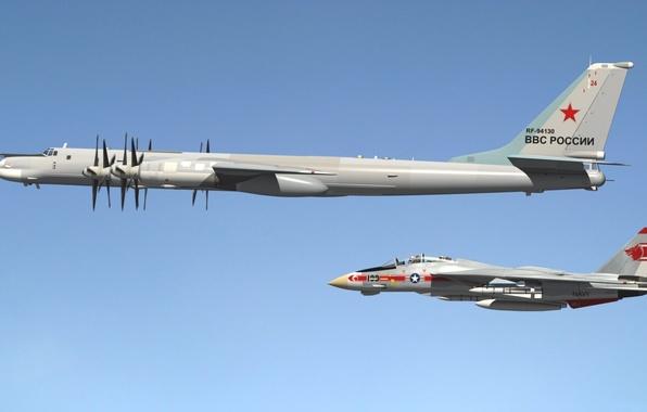 "Picture fighter, bomber, missile, jet, dimensions, strategic, Tomcat, double, turboprop, Tu-95, Grumman F-14, ""Tomcat"""