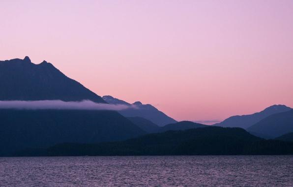 Picture sunset, mountains, lake, british columbia, vancouver island, Kennedy Lake