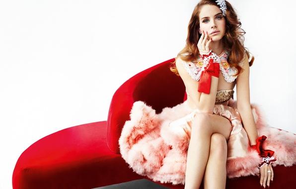 Picture girl, sofa, dress, fur, singer, sitting, Lana Del Rey
