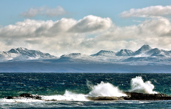 Picture wave, the sky, clouds, mountains, squirt, stones, tops, Bay