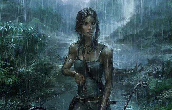 Picture Girl, Rain, Bow, Tomb Raider, Jungle, Art, Lara Croft