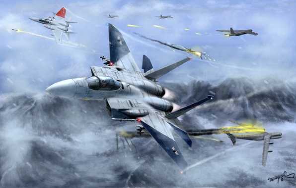 Picture snow, flight, mountains, fire, art, aircraft, fighters, battle, ace combat, in the sky