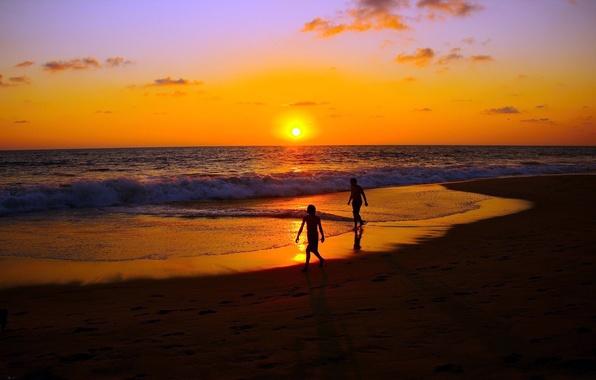 Picture SEA, HORIZON, The OCEAN, The SKY, SAND, The SUN, CLOUDS, SURF, WAVE, SUNSET, LIGHT, COAST, …