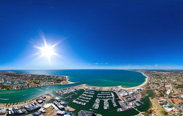 Picture the sky, the sun, the city, the ocean, coast, home, boats, horizon, Australia, panorama, Bay, …