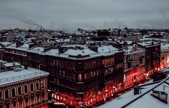 Picture winter, snow, home, the evening, Peter, roof, Saint Petersburg, Russia, Russia, SPb, St. Petersburg, spb