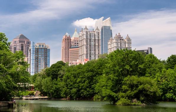 Picture trees, lake, Park, USA, trees, Park, lake, Georgia, Midtown, Piedmont, Atlanta, Georgia, Atlanta