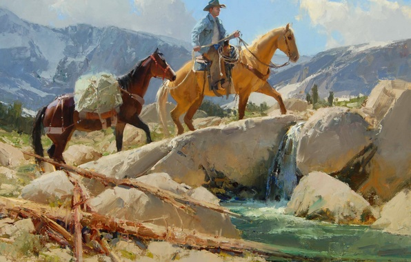 Picture the sky, landscape, mountains, river, stream, stones, horse, cowboy, Anton Bill