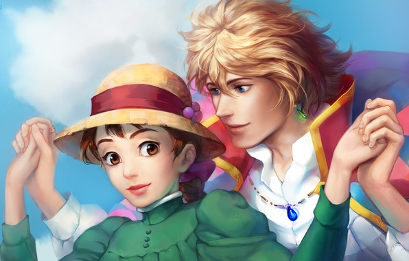 Picture girl, guy, Howl's moving castle, Howl's Moving Castle, Howl, Sophie