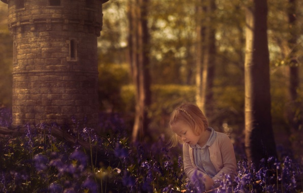 Picture forest, flowers, tower, girl, bells