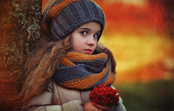 Picture autumn, nature, children, berries, tree, girl, child