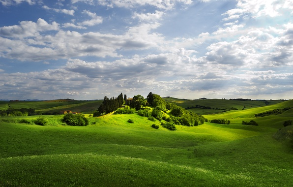 Picture field, the sky, clouds, rays, light, hills, serenity, cottage