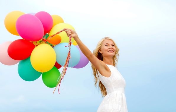Picture girl, balls, joy, happiness, balloons, colorful, happy, sky, woman, blonde, balloons