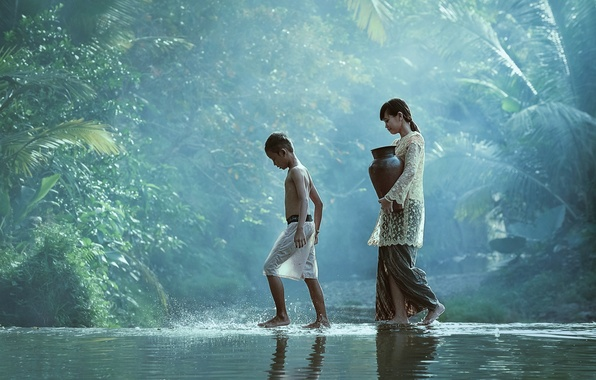 Picture water, children, river, stream, boy, village, jungle, girl, girl, pitcher, jungle, water, go, boy, village, …